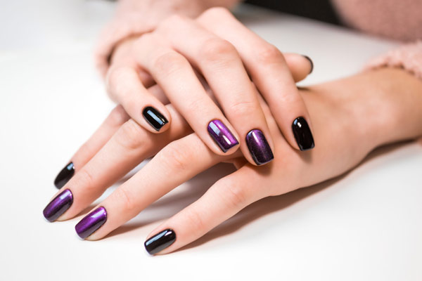 Opalescent Purple and Black Gel Manicure